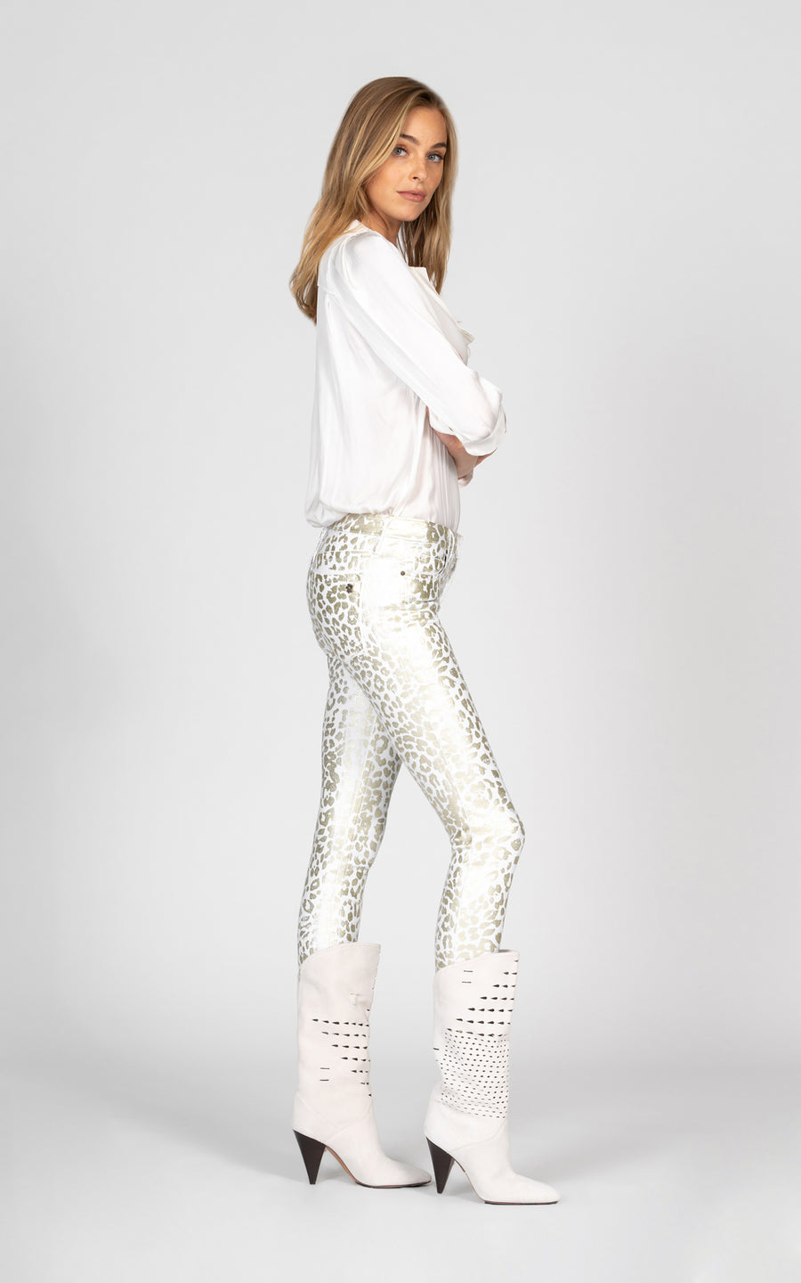 Jude Mid Rise Skinny with all over leopard foil - Snow White-Jean-Black Orchid Denim