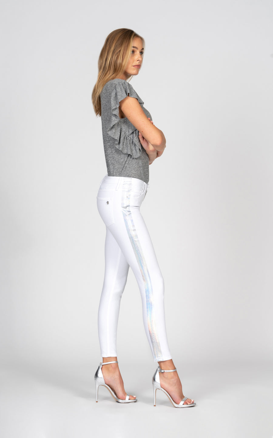 Jude Crop with holographic stripe - Snow White-Jean-Black Orchid Denim