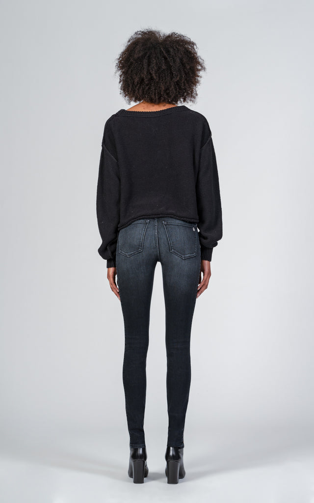 Gisele High Rise Super Skinny with Leopard Stripe - Raven-Jean-Black Orchid Denim