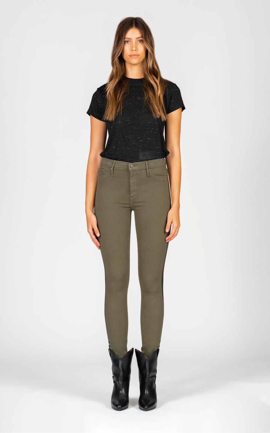 Gisele High Rise Skinny - Army Green-Jean-Black Orchid Denim