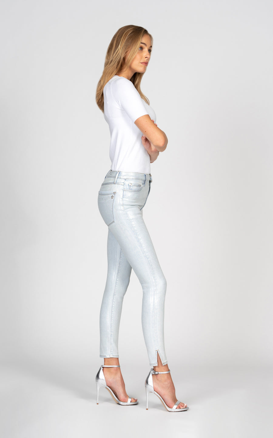 Kate Super High Rise Skinny with holographic foil - Bleachless-Jean-Black Orchid Denim