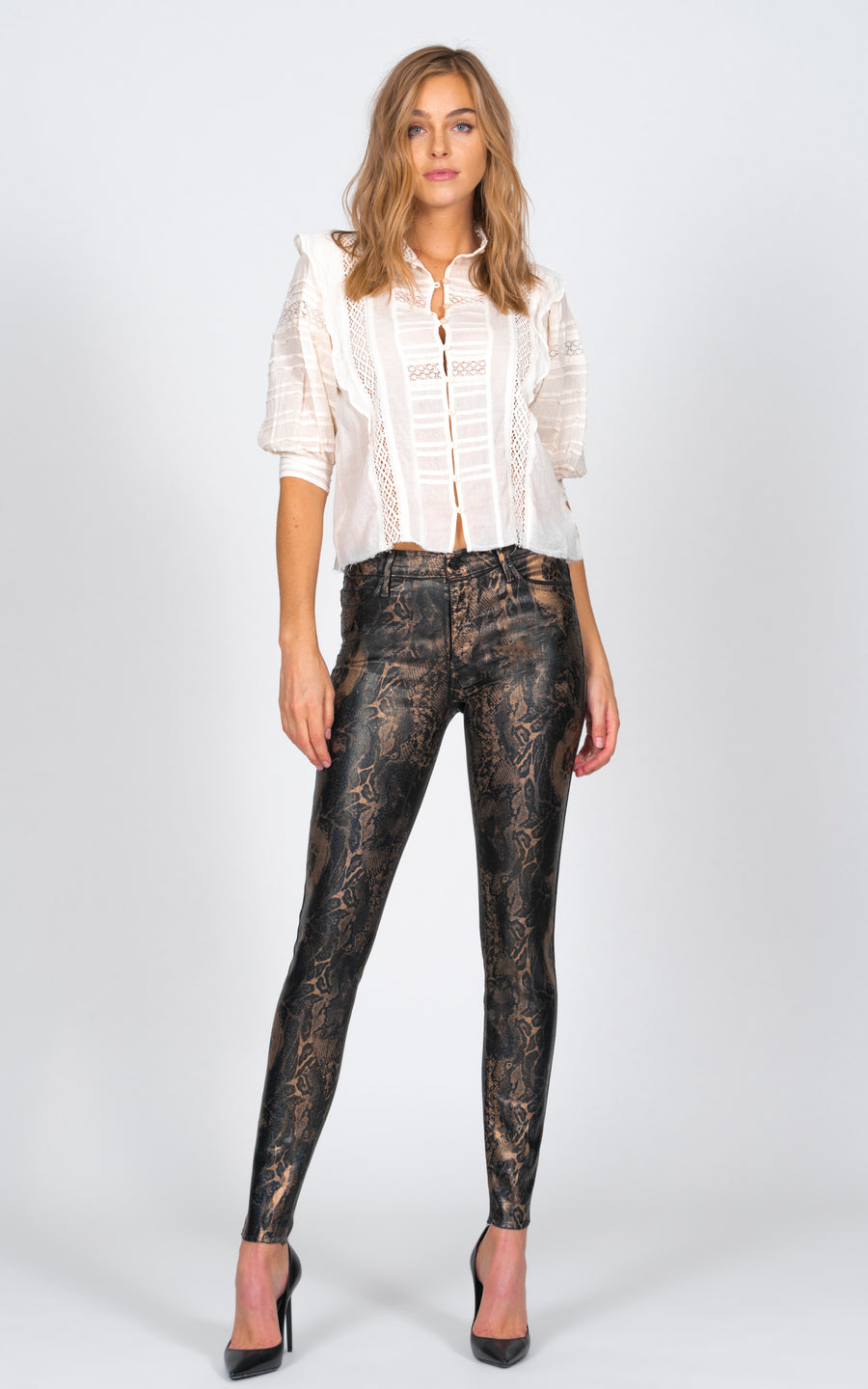 Noah Ankle Fray with all over foil - Halo Snake-Jean-Black Orchid Denim
