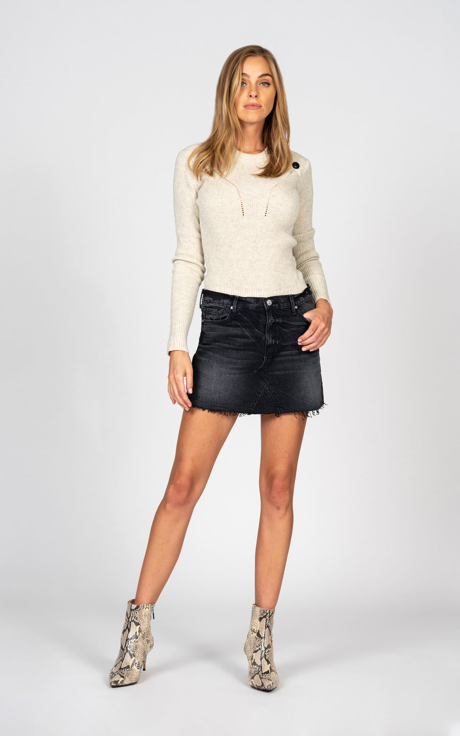 Paige Fray Mini Skirt - Lost and Found-Jean-Black Orchid Denim