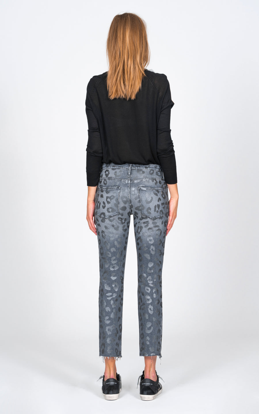 Brooklyn Straight Fray with Leopard Print - Toxic-Jean-Black Orchid Denim