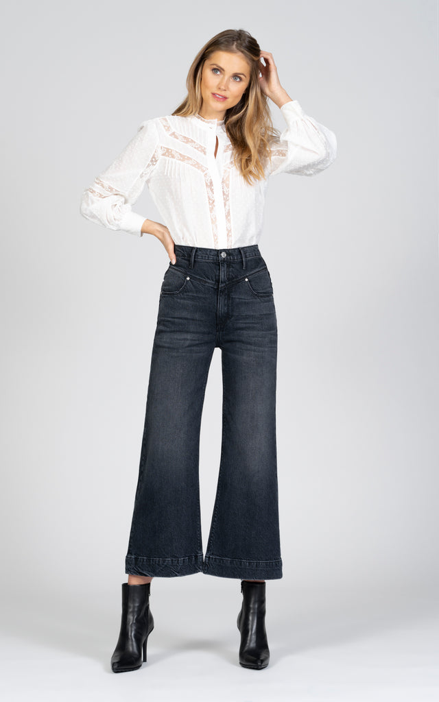 Emma Double Yoke Wide Leg Crop - Late Night-Jean-Black Orchid Denim
