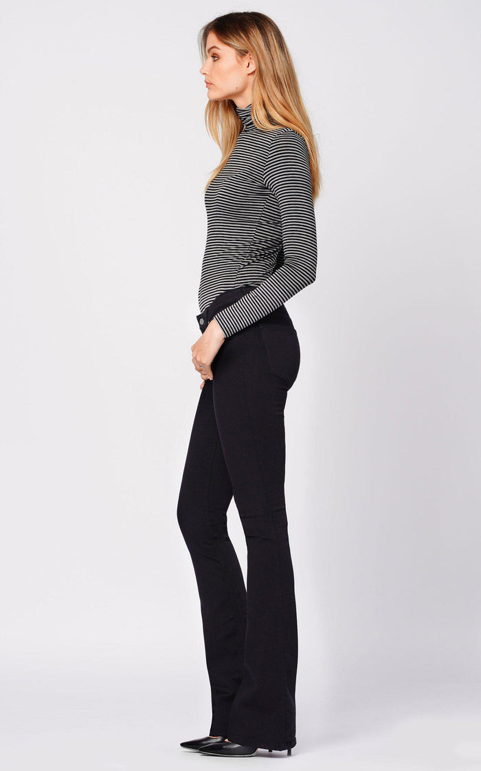 Mia Mid Rise Skinny Flare - So Black