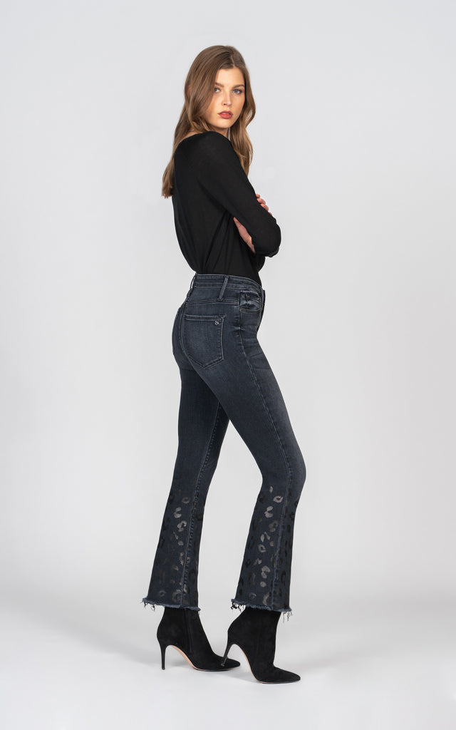 Chrissy Kick Flare with leopard foil detail - What I Like About You-Jean-Black Orchid Denim