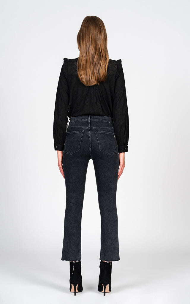 Cindy Slant Fray with leopard side stripe - Studio 54-Jean-Black Orchid Denim