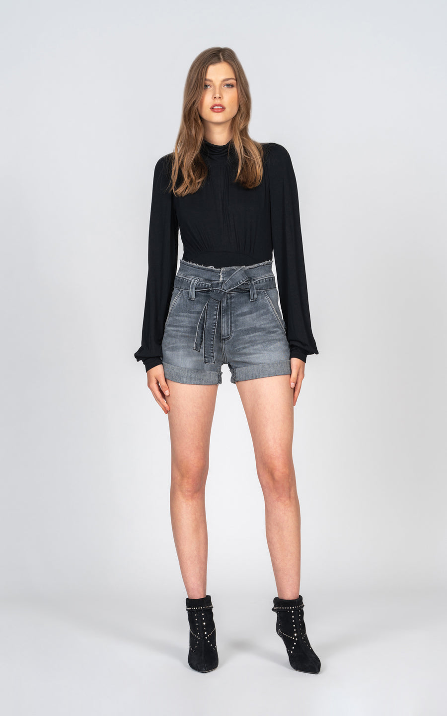 Barbara Belted Paperbag Short - Stole The Show-Jean-Black Orchid Denim