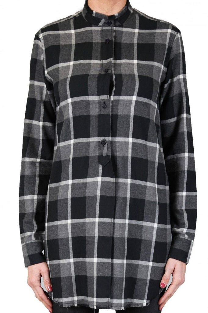 Plaid Shirt - Black and Grey-Top-Black Orchid Denim