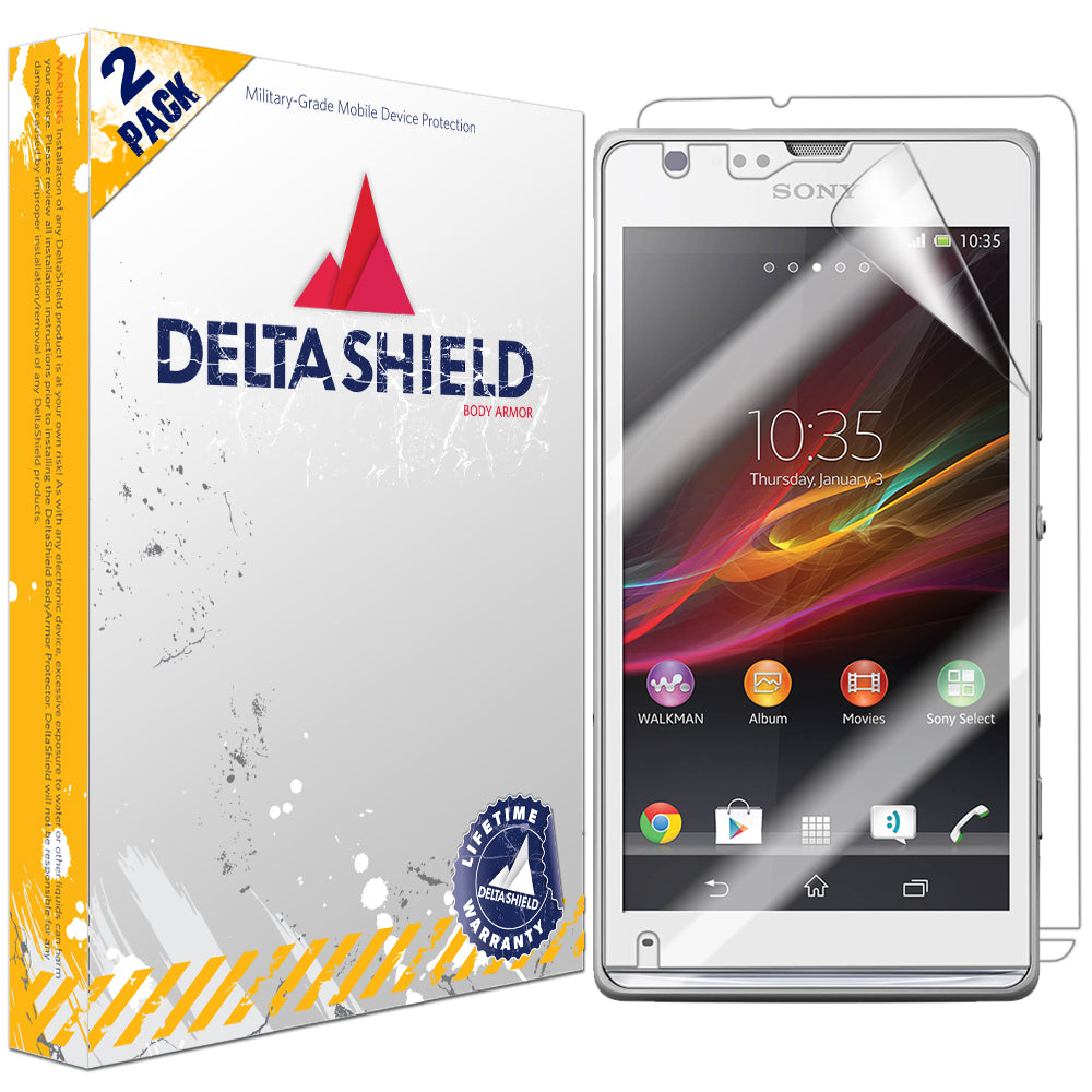 brand new b988d 75c09 DeltaShield BodyArmor Sony Xperia SP Ultra Clear Front & Back Cover  Protector (2-Pack)