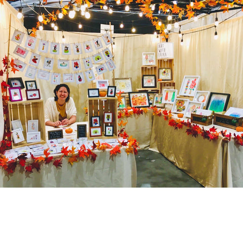 Campbell and San Jose California artist, Erika Robertson, at the Art With Erika booth at the Harvest Festival in San Jose