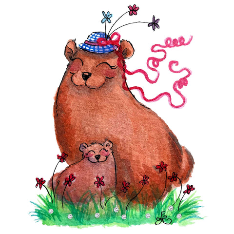 Art With Erika art print - Mom and baby, big and little collection, two bears in the grass with a hat