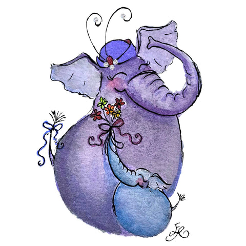 Art With Erika - Miniature art prints and cards - mama and baby elephant watercolor painting adorned with Swarovski Crystals