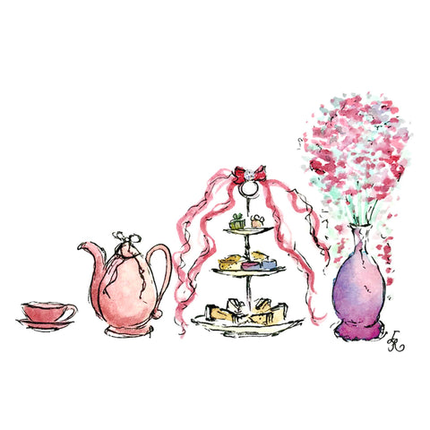 Pink afternoon tea set with three tiered stand and vase of flowers