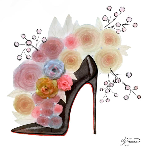 Black high heel with red sole and roses with berry branches