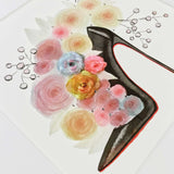 Black fashion heel with roses art print with white matte