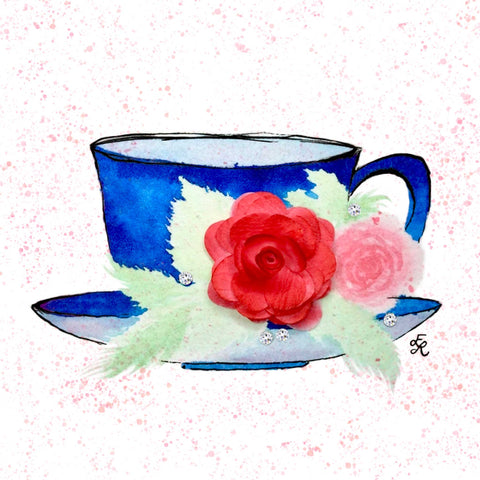 Royal blue tea cup with pink and red roses and Swarovski crystals