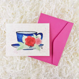 Beautiful blue teacup with red and pink roses handmade card with envelope
