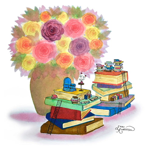 A small book nook filled with tiny books and a chair sits on a stack of big books under a vase of roses