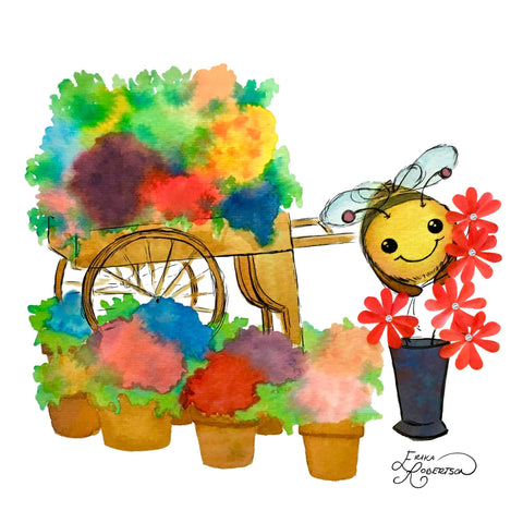 Cute bumble bee arranging red daisies at a flower cart with Swarovski crystals