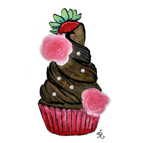 Chocolate lover's cupcake with a Strawberry, pink roses, and Swarovski crystals