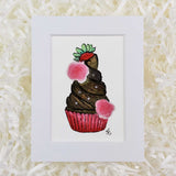 Chocolate cupcake with strawberries and roses art print with white matte