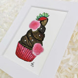 Strawberries and roses on a chocolate cupcake art print with white matte