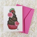 chocolate lover cupcake with a strawberry on top handmade card with envelope