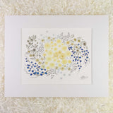 Cream roses, light blue daisies, and branches with blue berries, adorned with Swarovski crystals, an art print with a white matte