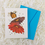 fuzzy bumble bee with red and purple daisies handmade card with envelope