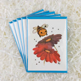 cute little bumble bee with flowers set of five handmade cards