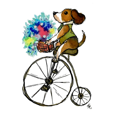 dog with a vest on a penny farthing with a basket of flowers and Swarovski crystals