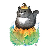fat tuxedo cat on a Halloween pumpkin with Swarovski crystals