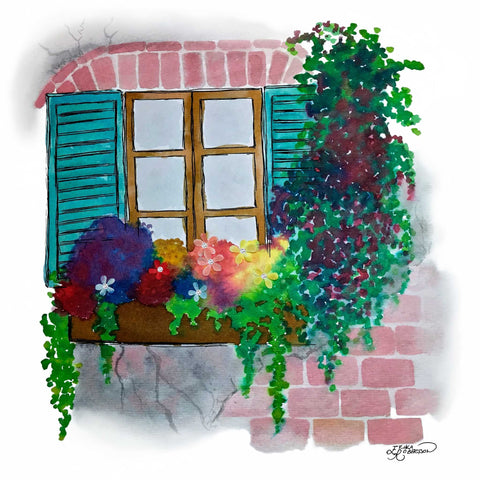 Bright flowers on a window sill with blue shutters and a brick wall