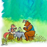 Closeup detail of Mr. Fox and Mr. Bear having afternoon tea on tree stumps surrounded by small red flowers