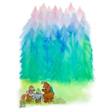 A fox and a bear enjoy afternoon tea with a colorful forest behind them