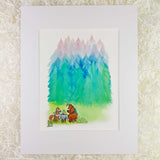 A well dress fox and bear have afternoon tea on tree stumps in front of blue, green, and pink watercolor pine trees
