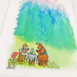 A storybook fox and bear have afternoon tea in a meadow, an art print with a white matte