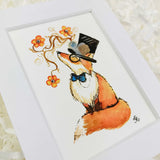 fox miniature art print with watercolor flowers