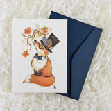 fox with top hat, flowers, and bow tie card with envelope