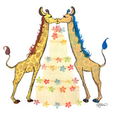 Two colorful kissing giraffes with a large wedding cake and rainbow flowers