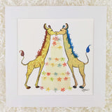 Two kissing giraffes with tiered wedding cake with rainbow flowers, art print with white matte