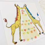 Kissing wedding giraffes with rainbow flower cake art print with white matte