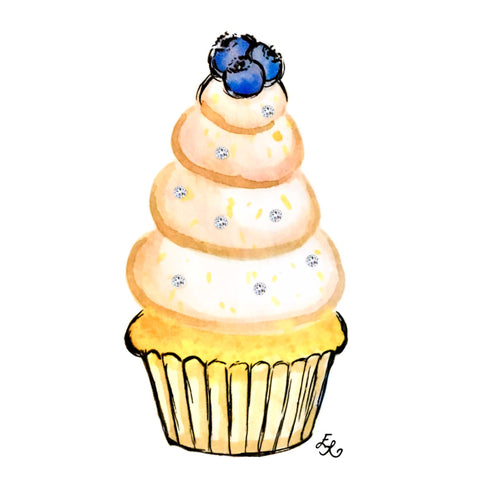 Lemon blueberry cupcake with buttercream frosting embellished with Swarovski crystals