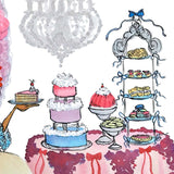 Close up of detail on the sweets table. Cakes, cookies, and tiers of goodies, painted with pastel watercolors.
