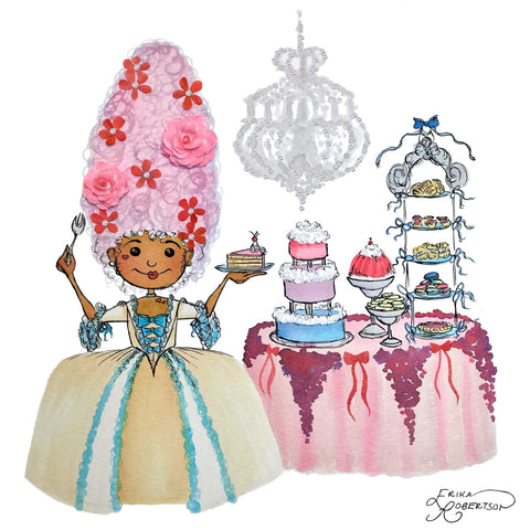 Cute Marie Antoinette girl with a slice of cake, a table of sweets, and a chandelier with Swarovski crystals