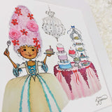 Adorable pastel colored fairy tale Marie Antoinette painting, with sweets and a chandelier, an art print with a white matte