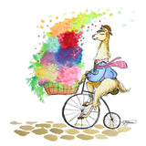 Llama with a tie on a penny farthing bicycle with a towering basket of flowers