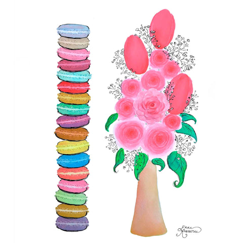 A colorful stack of French macaroon cookies next to a vase of pink roses and red tulips with Swarovski crystals